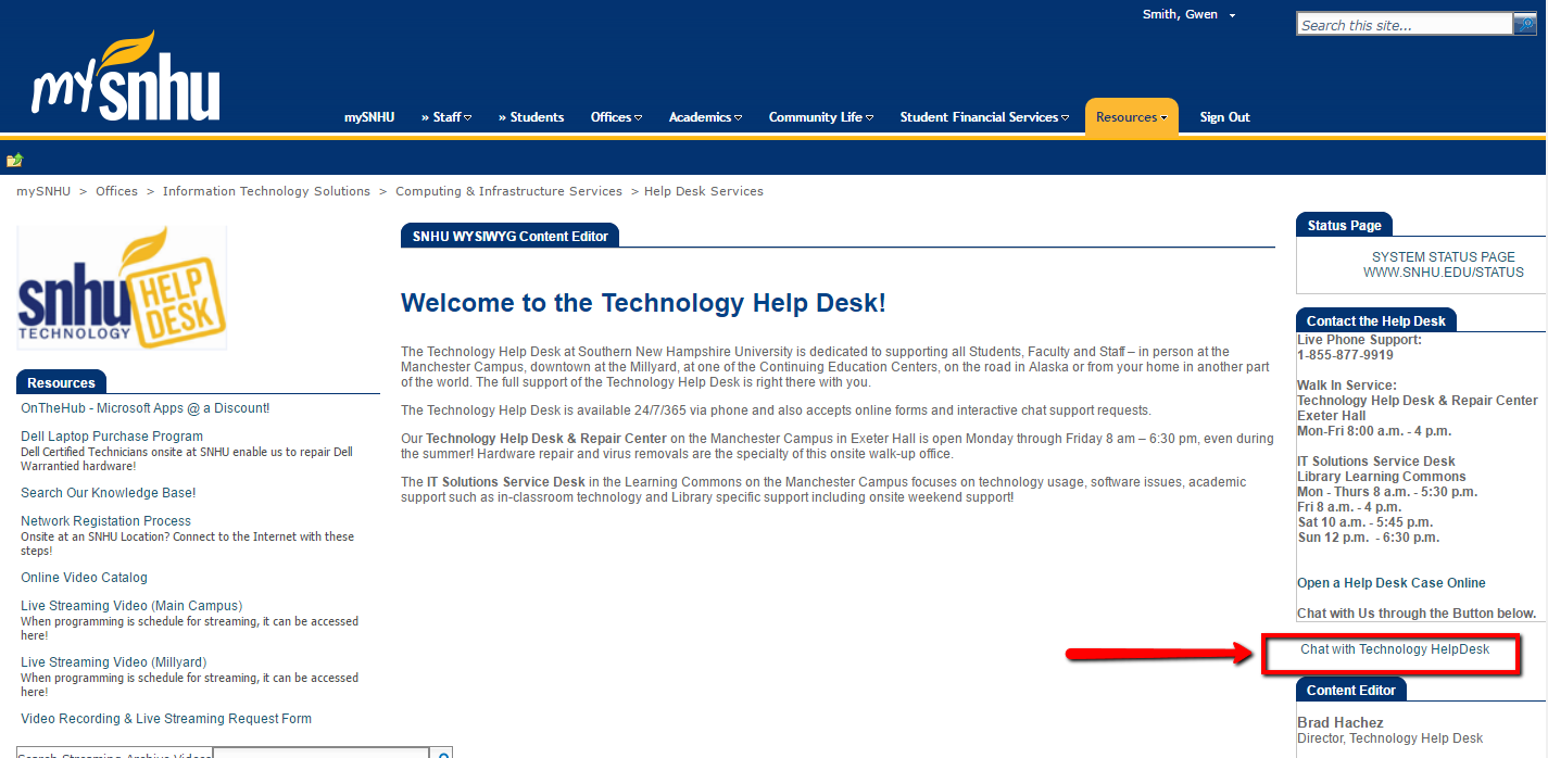 Screenshot of where the chat link is located on the right side of the help desk services mysnhu page