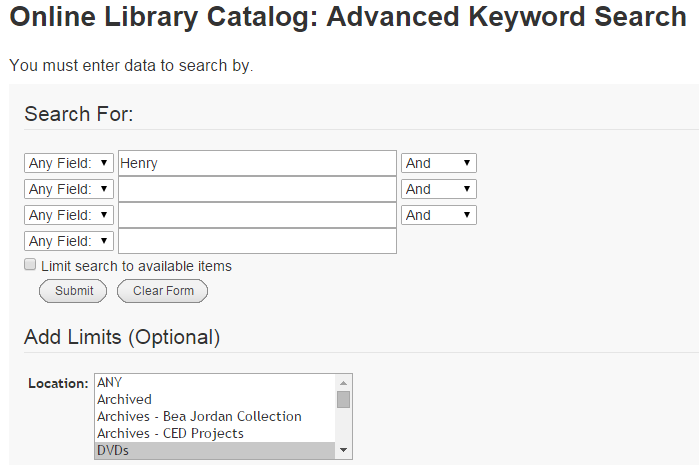 Online Library Catalog Advanced Search Screenshot