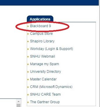 Screenshot of the link to Blackboard within mysnhu