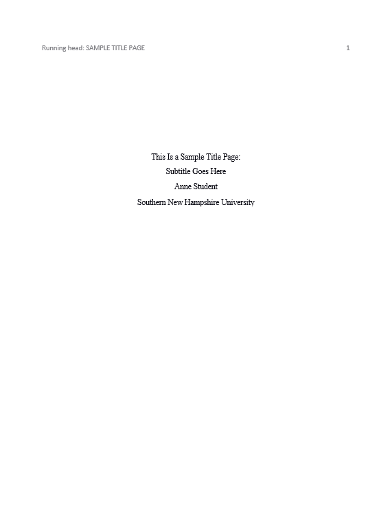 What Does A Title Page Look Like In Apa Format Jose