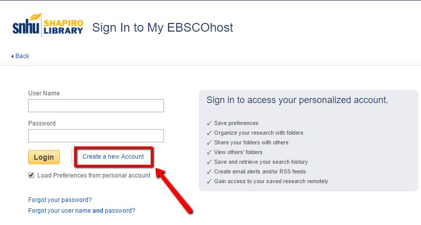 Screenshot of the EBSCO login with arrow pointing to where you can create an account