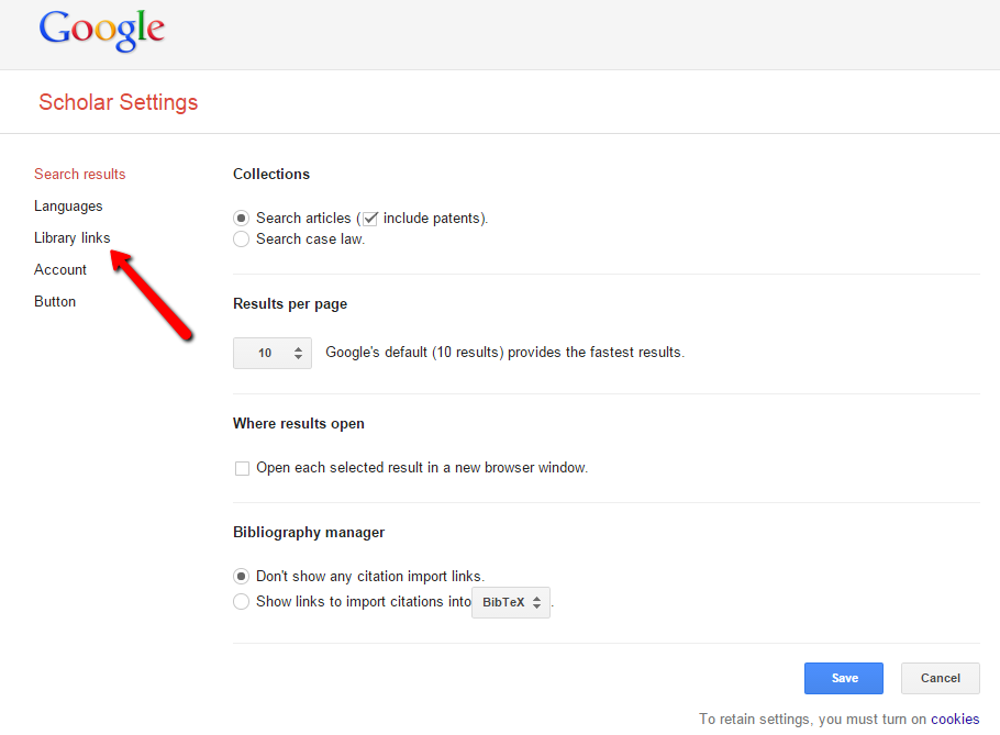Google Scholar Setting Screenshot