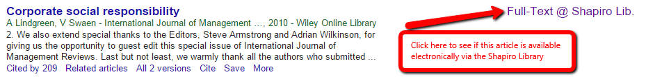 Google Scholar Full Text at Shaprio Library Screenshot