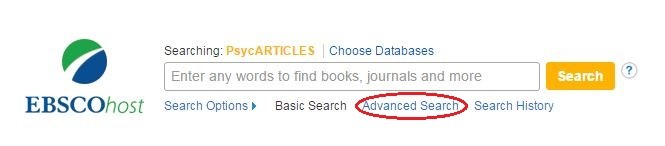 Screenshot of psycharticles advanced search link