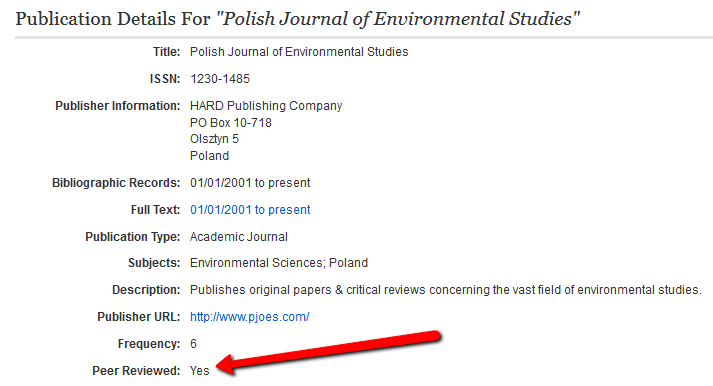 EBSCO Information About Publication Screenshot
