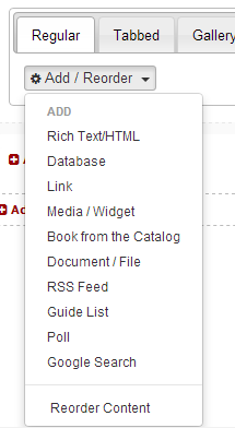 LibGuides 2.0 box content options