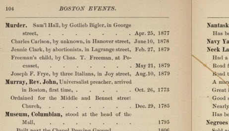 excerpt from Chronology of Boston Events, showing Murders