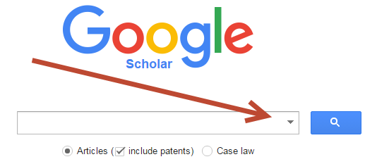 screenshot of Google Scholar showing advanced search option, a small black triangle on the right side of the search box