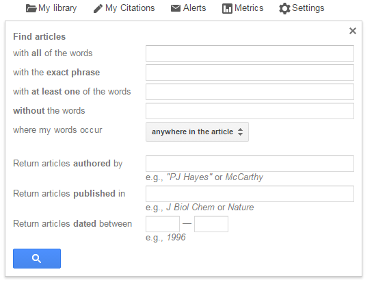 screenshot of Google Scholar advanced search boxes