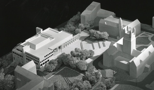 Black and white picture of an architectural model of O'Neill Library