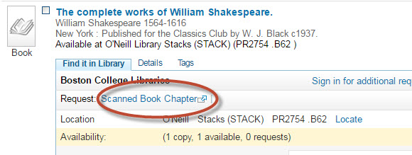 "Screenshot image of catalog record showing ""scanned book chapter"" request link under ""find it in library"" tab"