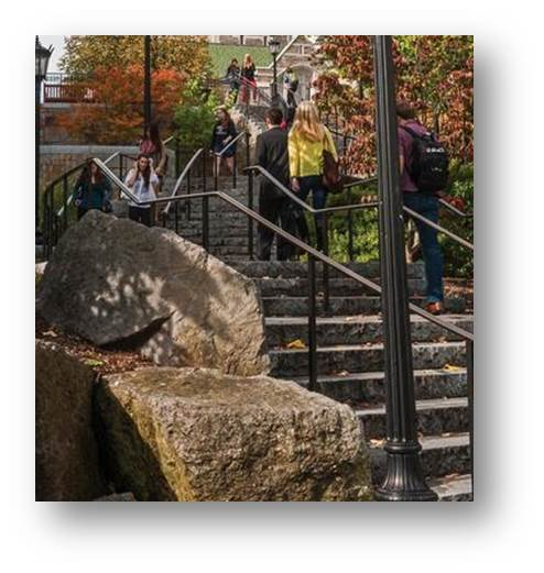 photo of students walking up stairway