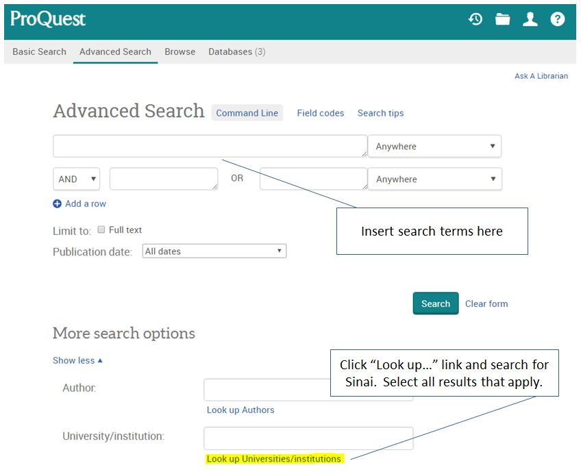 How to limit search to Mount Sinai results only