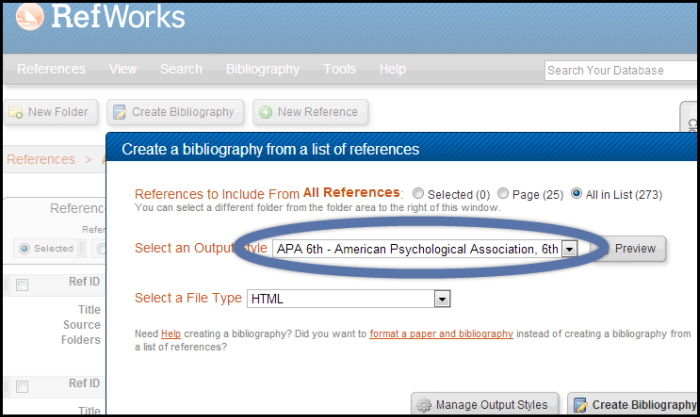 Select APA 6th from the Select and Output Style menu in RefWorks