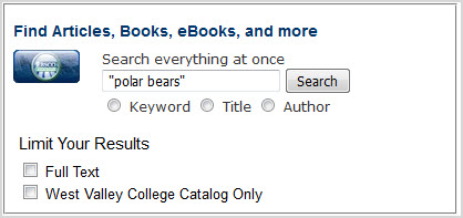 "Search box with a typed search of ""polar bears"""