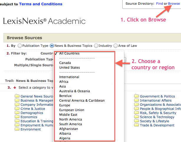 Browsing for sources in Lexis Nexis