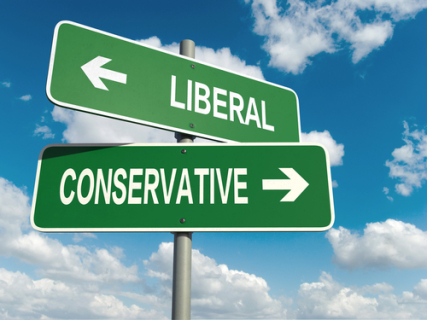 Street Signs with Liberal Left Arrow, Conservative Right Arrow