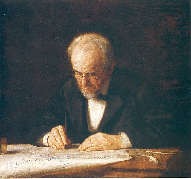 "The painting ""The Writing Master"" by Thomas Eakins."
