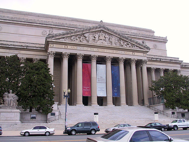 Pennsylvania Avenue face of the National Archives, Washington, D.C.