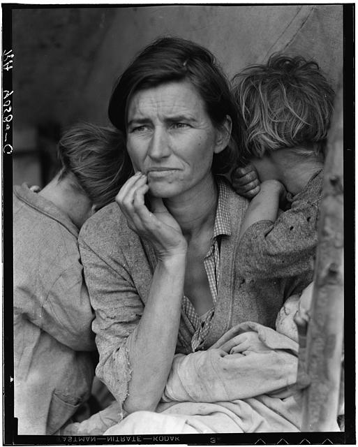 "Dorothea Lange's photograph ""Migrant Mother,"" taken in a camp of migrant farm workers, Nipomo, California, 1936."