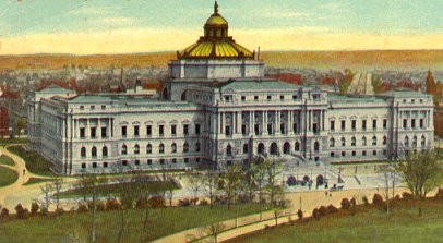 Postcard view of the Library of Congress, circa 1910.  This is now called the Thomas Jefferson Building.