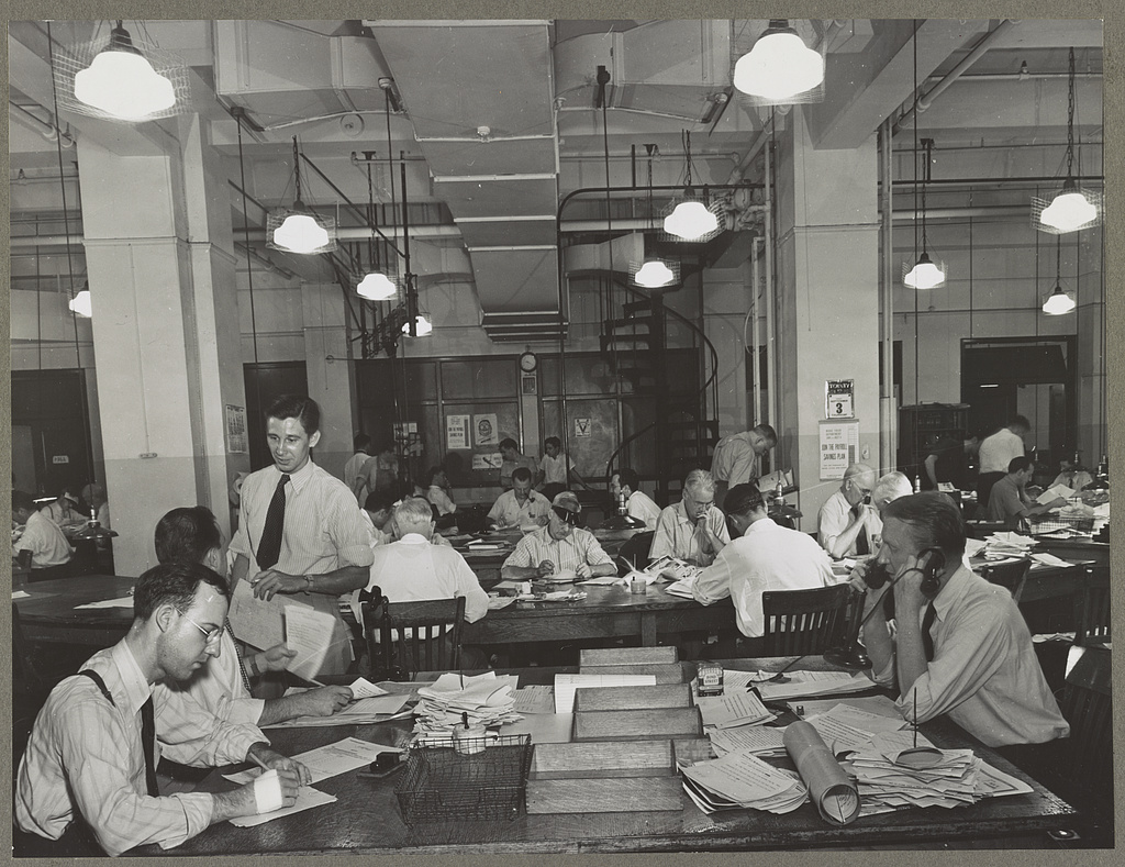 The newsroom of The New York Times, December 31, 1941.