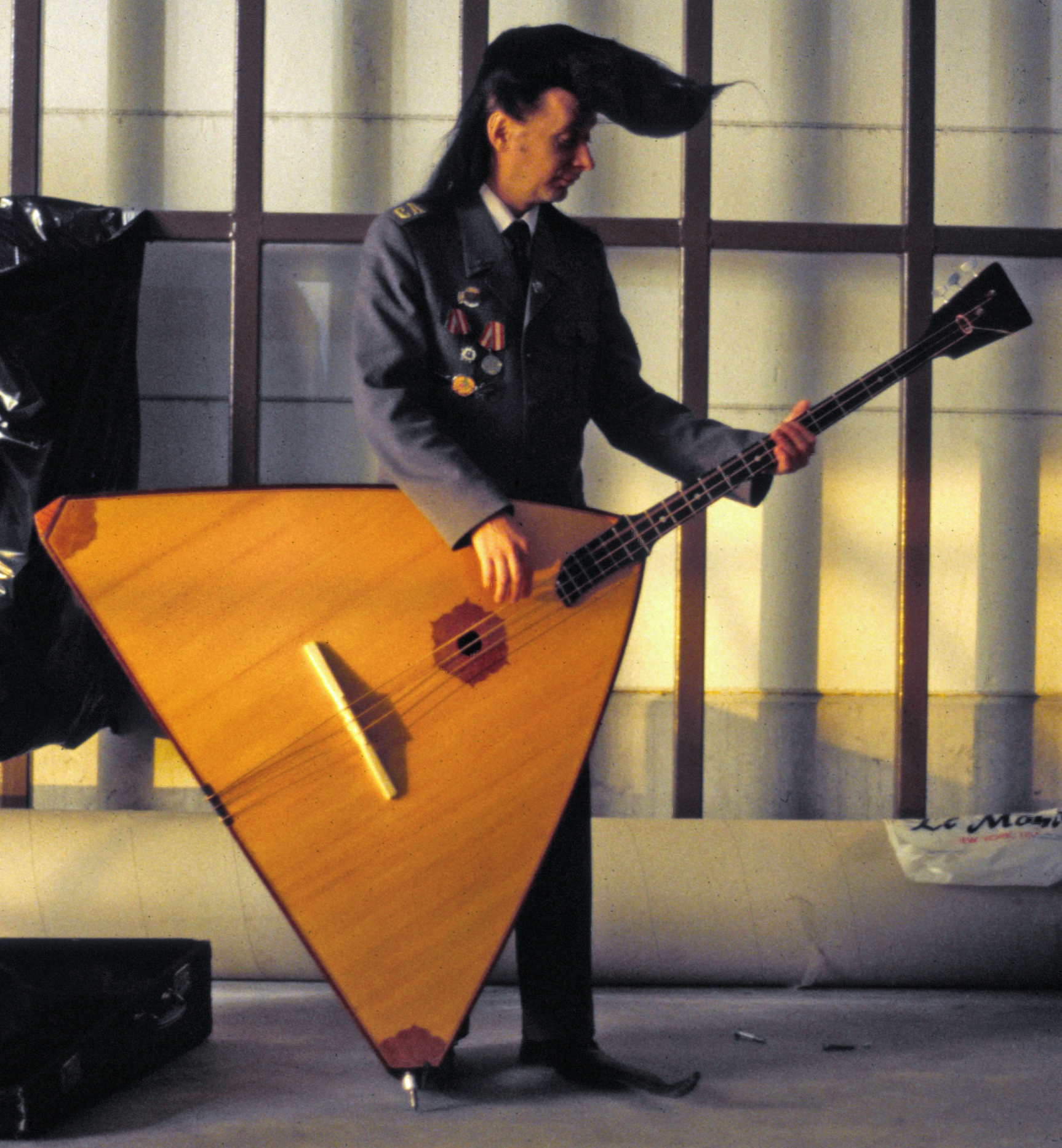 Silu Seppala of the Leningrad Cowboys playing the balalaika  in 1995.