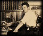 Editor Miller at the editor's desk of the Okemah Daily Leader office in Aug. 1928