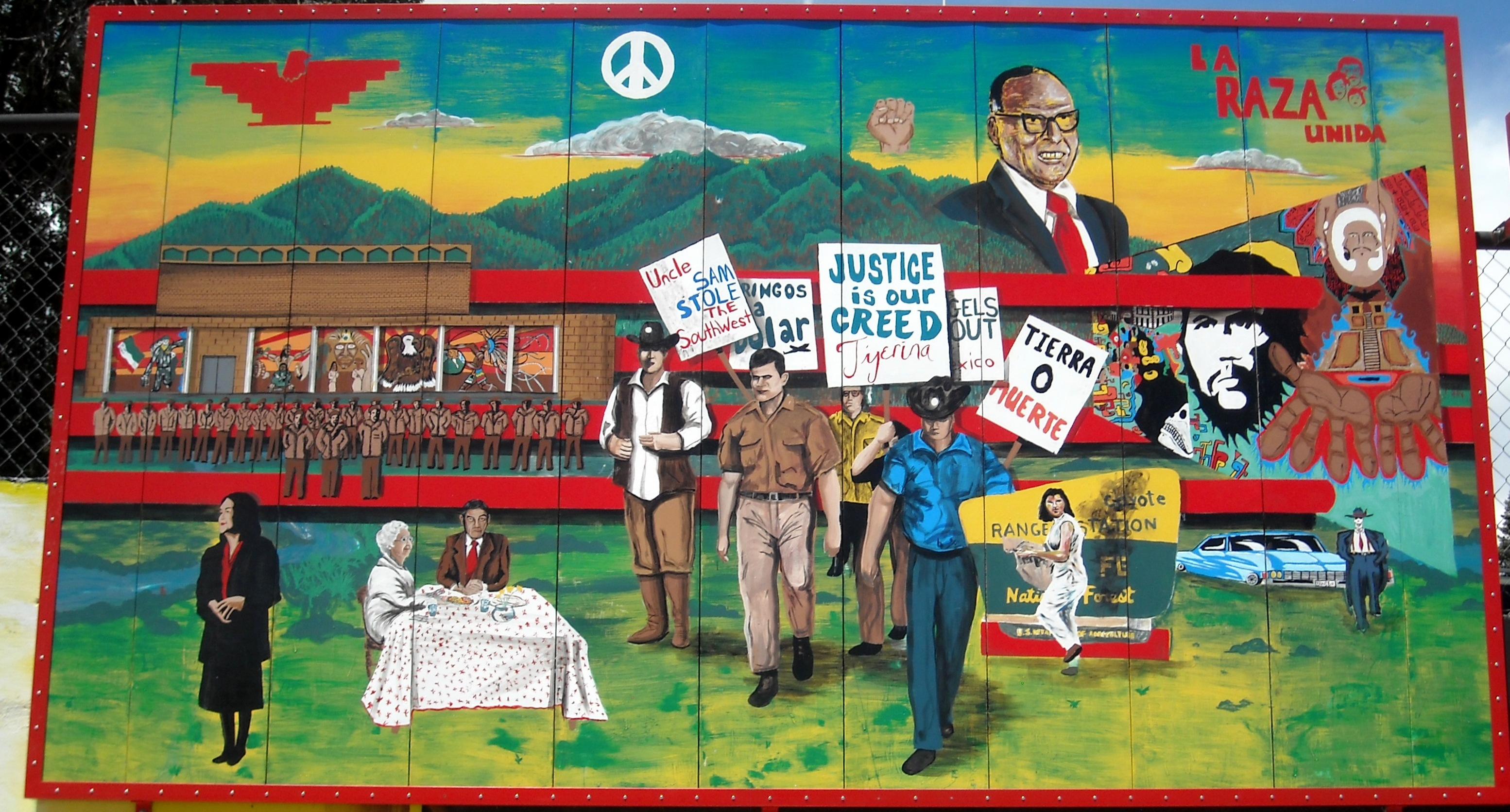 The People's History of El Norte mural in Las Vegas, New Mexico