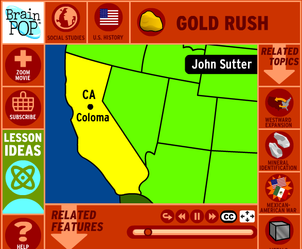 Map Of California During Gold Rush.Gold Rush Westward Expansion Ssd Public Website At Salem School