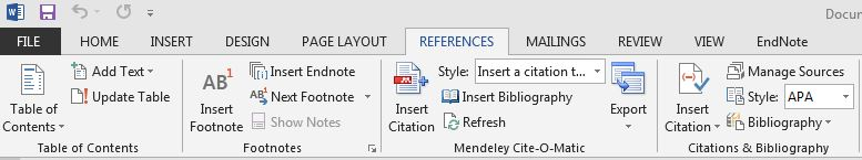 Microsoft Word Bar with Mendeley Citation Plug In