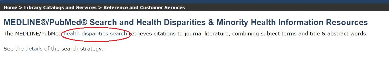 PubMed health disparities web page