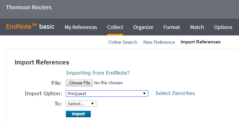 Image of how to import references from Proquest into Endnote Online