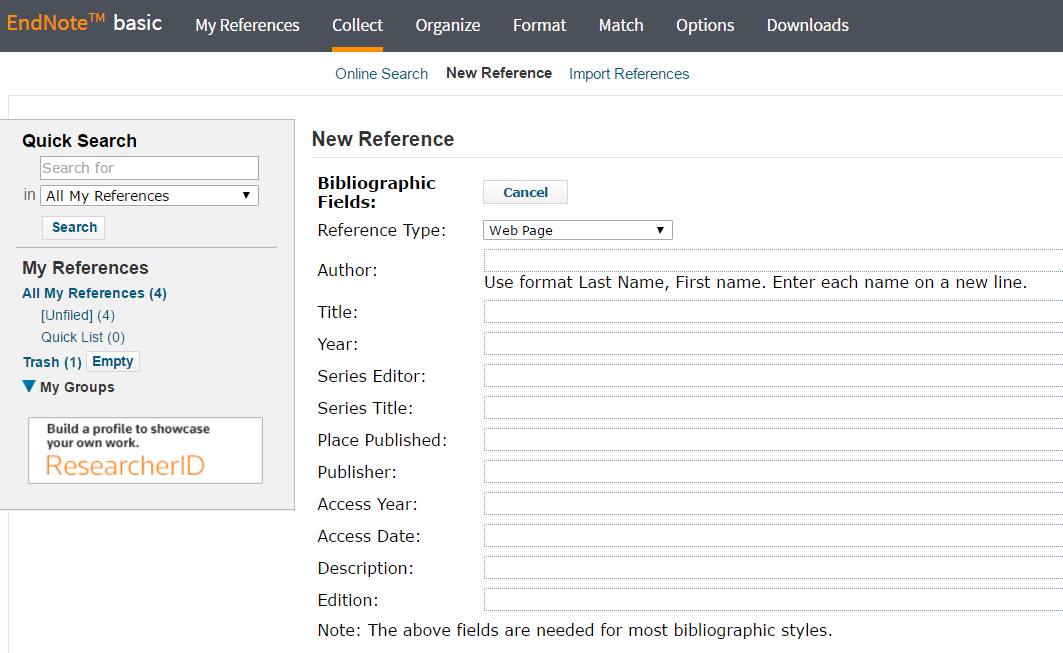 Image of how to create a new reference manually