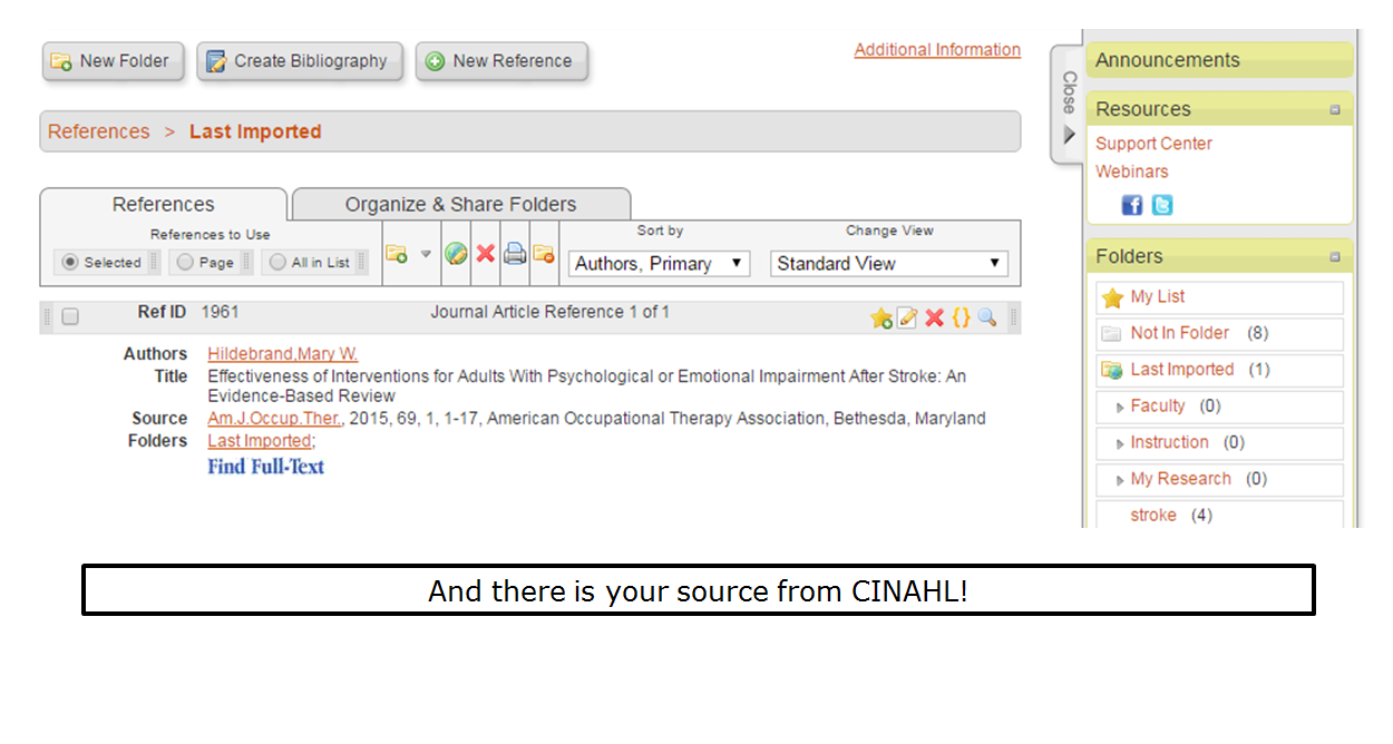 And there is your source from CINAHL!