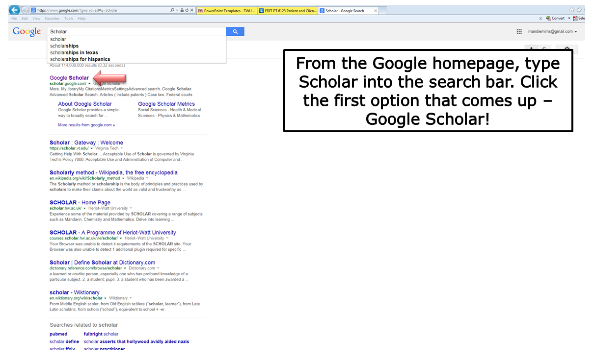 From the Google homepage, type scholar into the search bar. Click the first option that comes up - Google Scholar!