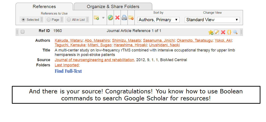 And there is your source! Congratulations! You know how to use Boolean commands to search Google Scholar for resources!