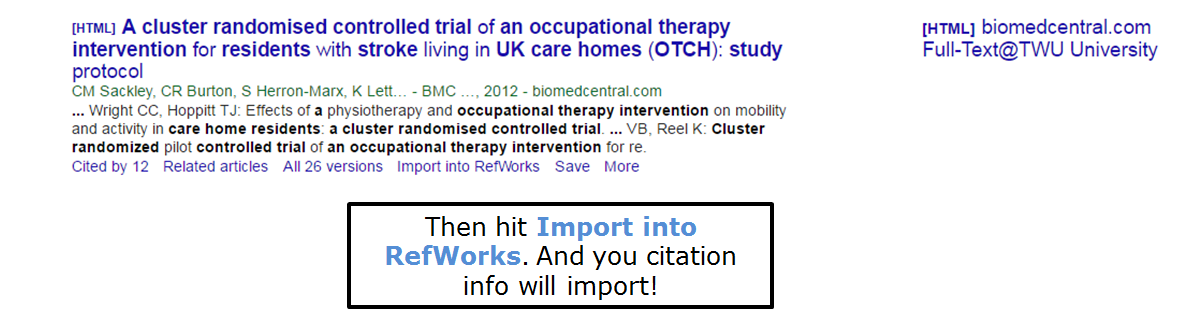 Then hit import into RefWorks and your citation info will import!