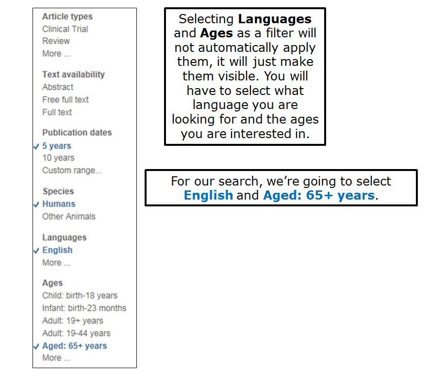 Selecting Languages and Ages as a filter will not automatically apply them, it will just make them visible. You will have to select what language you are looking for and the ages you are interested in. For our search, we're going to select English and Aged: 65+ years.