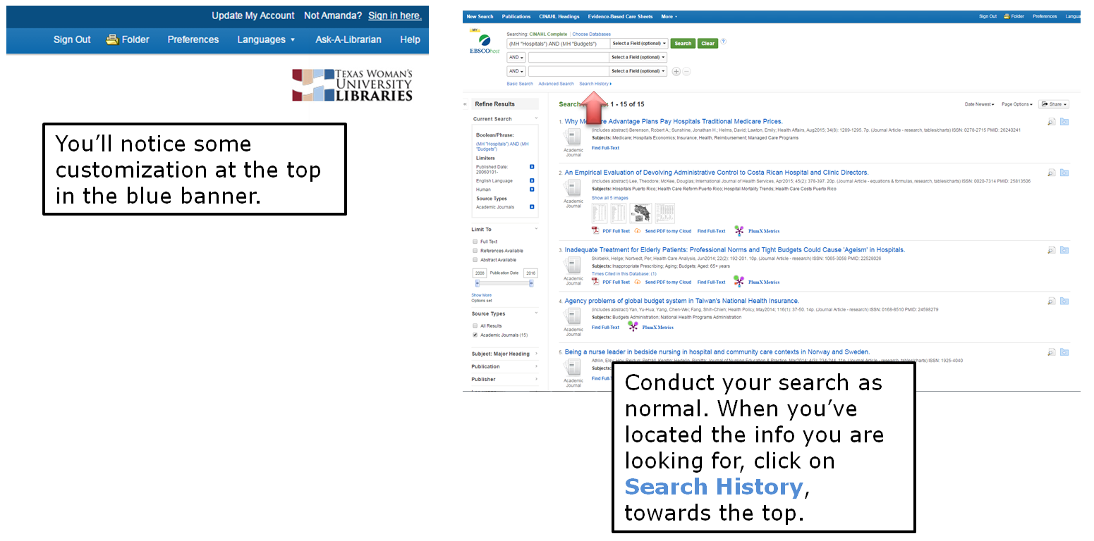 You'll notice some customization at the top in the blue banner. Conduct your search as normal. When you've located the info you are looking for, click on Search History, towards the top.