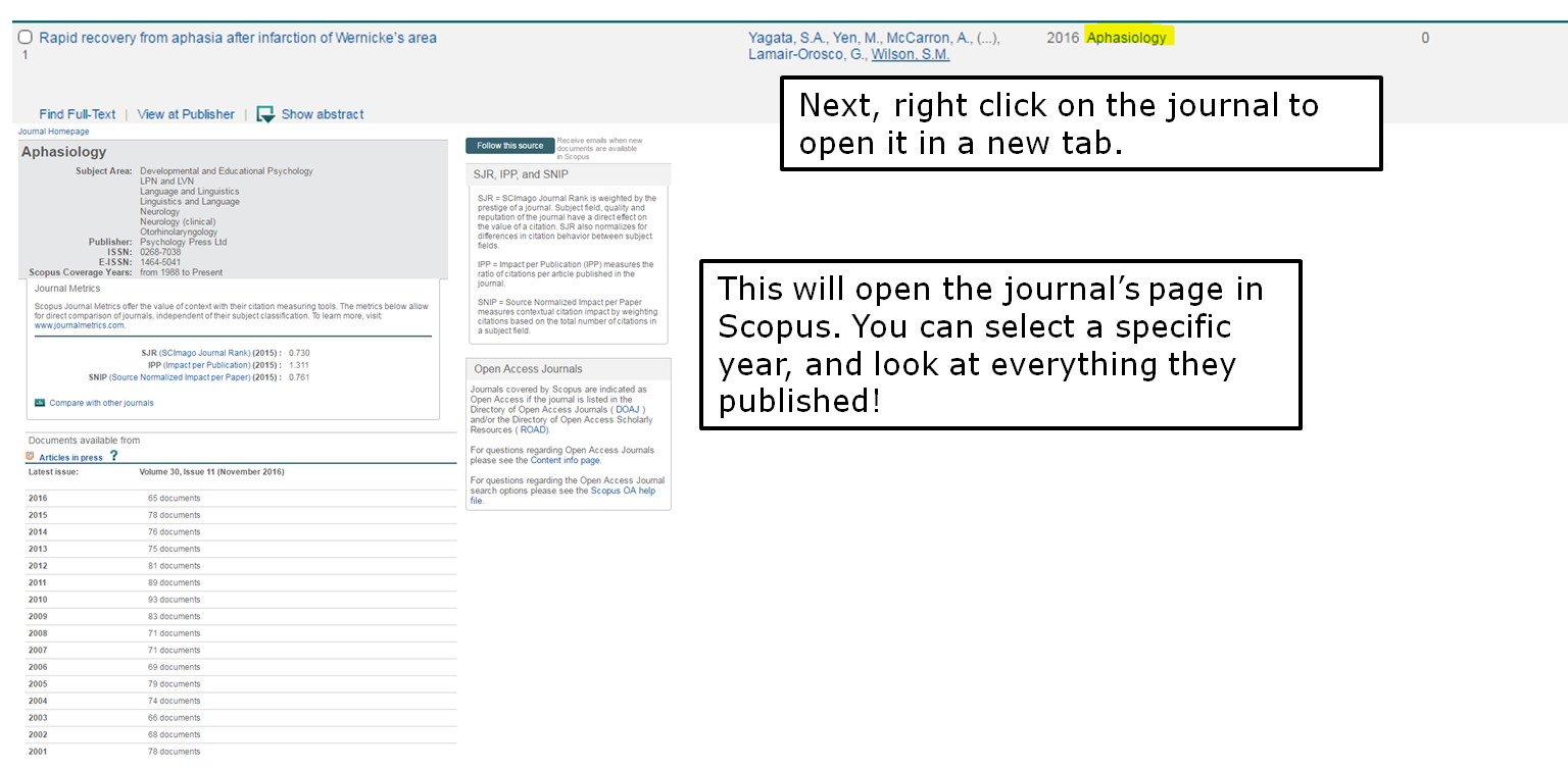 Next, right click on the journal to open it in a new tab. This will open the journal's page in Scopus. You can select a specific year, and look at everything they published!