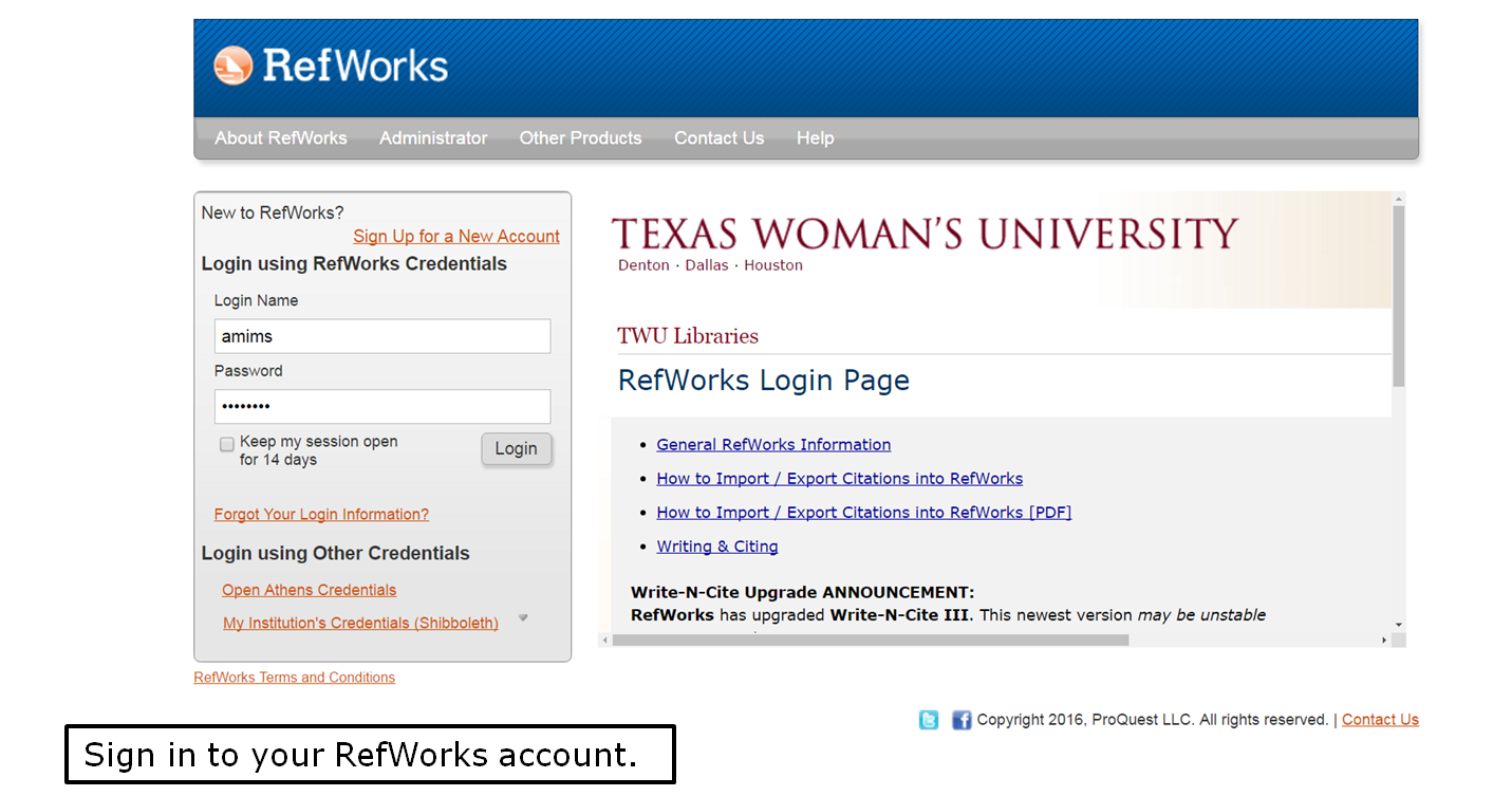 Sign in to your RefWorks account.