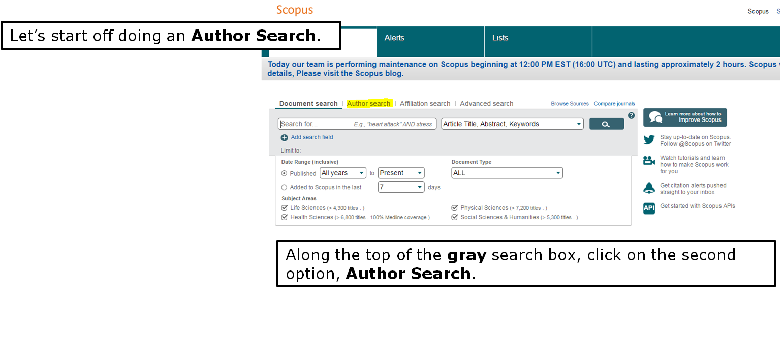 Let's start off doing an Author Search. Along the top of the gray search box, click on the second option, Author Search.