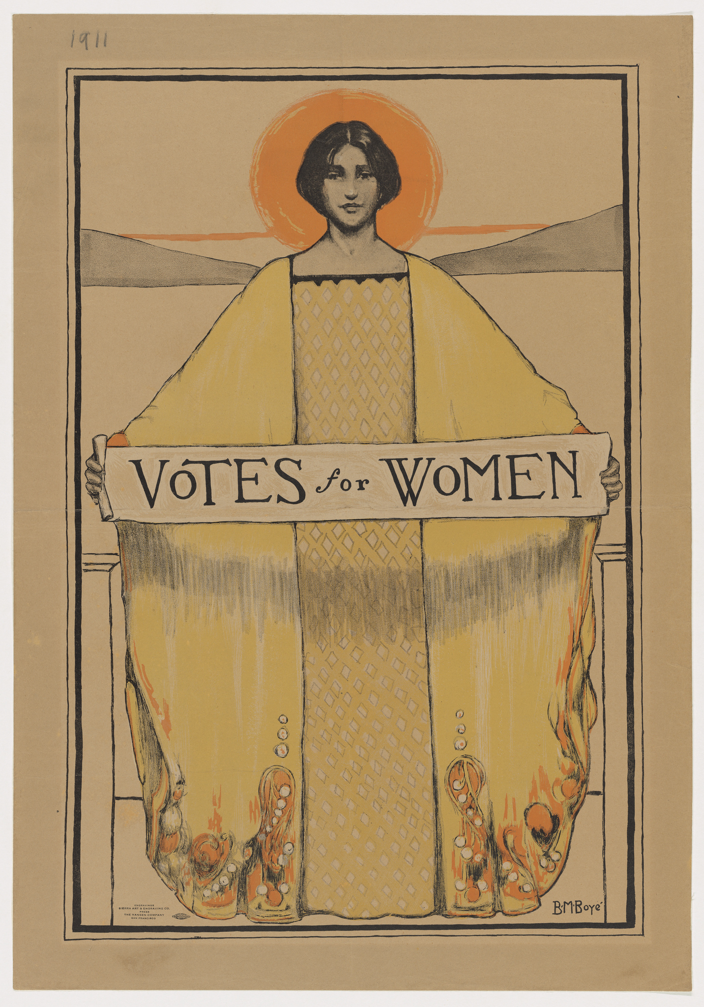 Votes for Women poster by Bertha M. Boye.