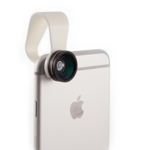 An iPhone with a lens over the camera