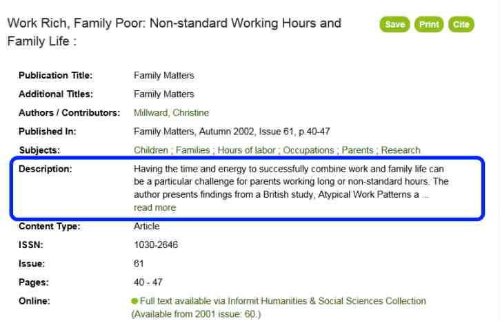 Read the abstract to see if the publication is suitable