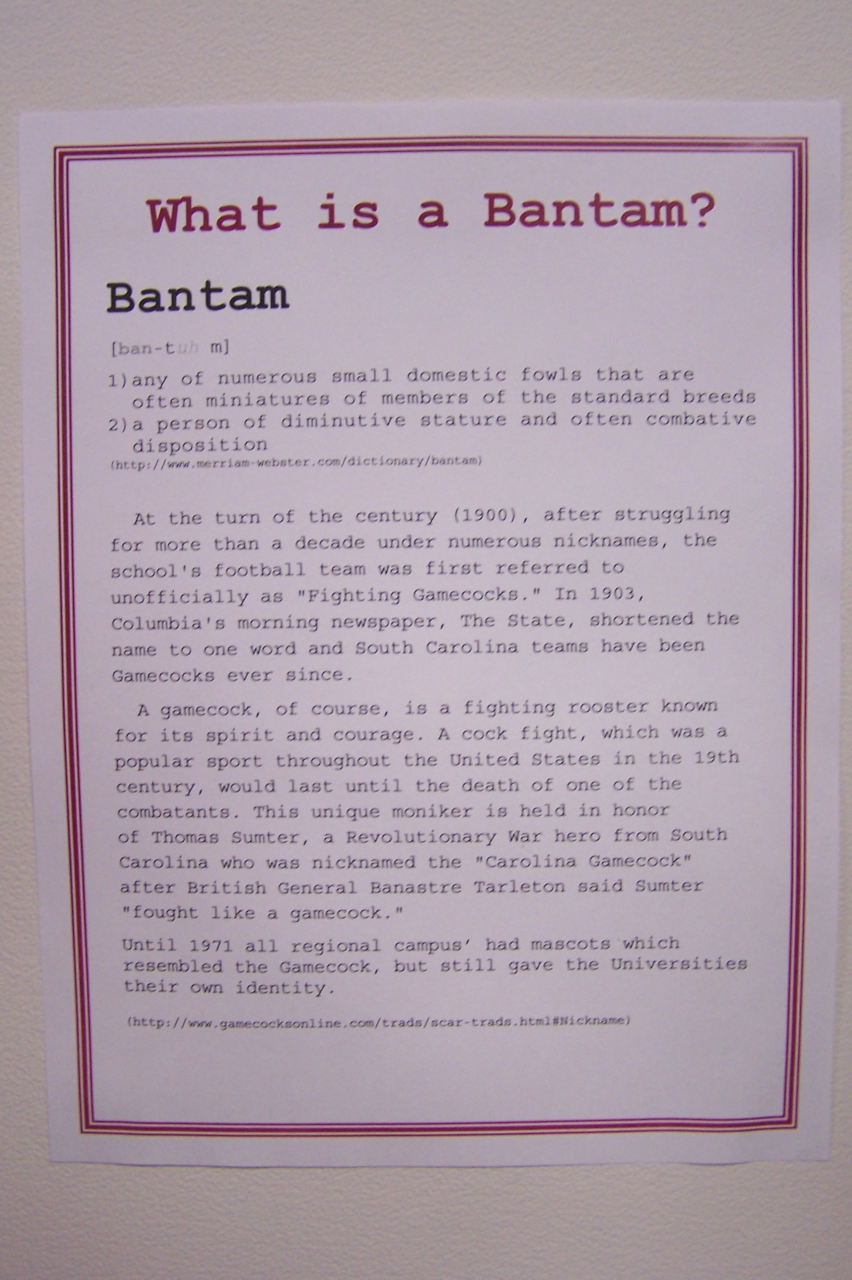 Sign explaining what a Bantam is.