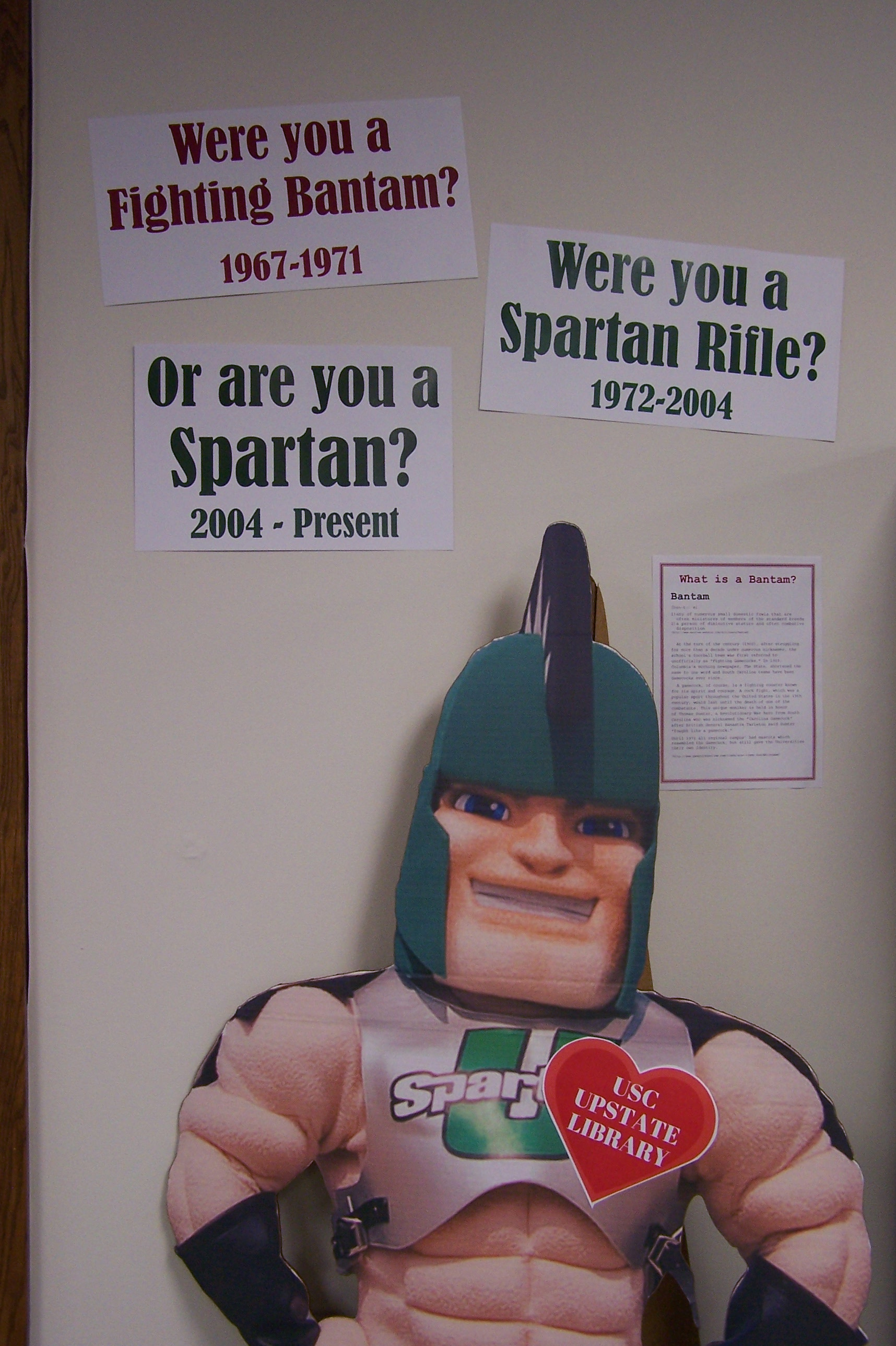 Close-up of Sparty cutout.