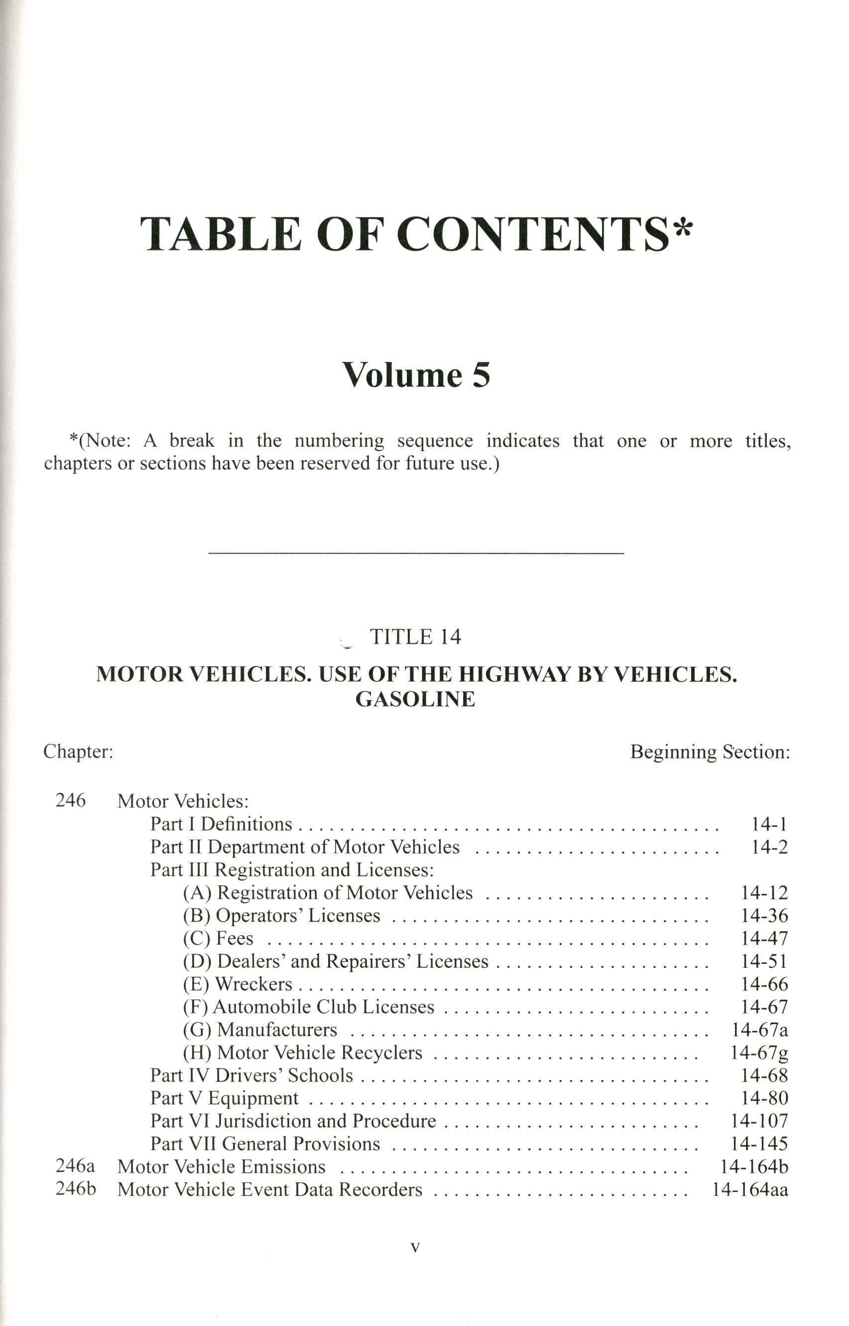 General Statutes of Connecticut Table of Contents