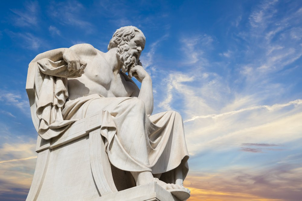 statue of Socrates in thought